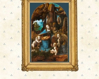 Leonardo da Vinci, Virgin of the Rocks .High Renaissance Painting, Famous Painting Copy, Art Print, Masterpiece poster, Giclee, Wall Decor