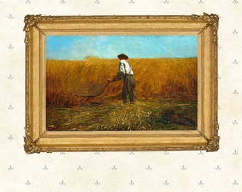 The Veteran in a New Field, Winslow Homer, 1865 .Art print, American painting, Giclee print, iconic painting, farmer, harvest.