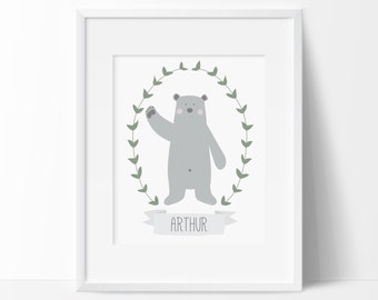 Personalised Woodland bear print, Custom made Nursery decor, Scandinavian bear print, Woodland Nursery, Printable kids room art