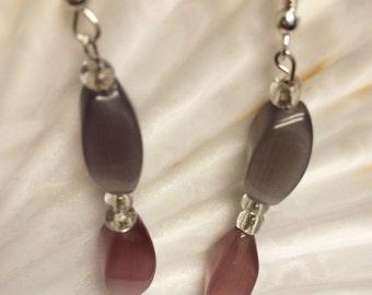 Pink and purple glass beaded earrings modern earrings chic earrings
