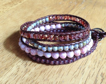 Four Wrap Leather Beaded Bracelet