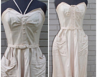 SALE - The Rehearsal - Linen 1940s Strapless/Halter Bustier Sundress, XS, S, 2. 4
