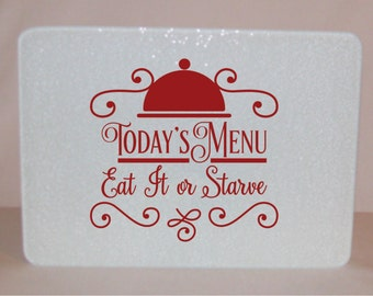 Today's Menu Glass Cutting Board - made in the USA