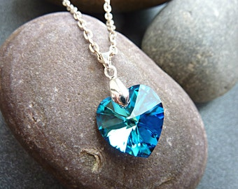 Swarovski Crystal Heart Necklace. Bermuda Blue Swarovski Crystal Heart Pendant Necklace. Pretty Jewellery on an 18 inch Silver Plated Chain.