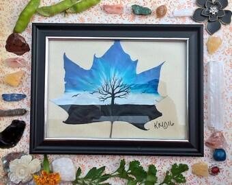 Blue tree leaf art