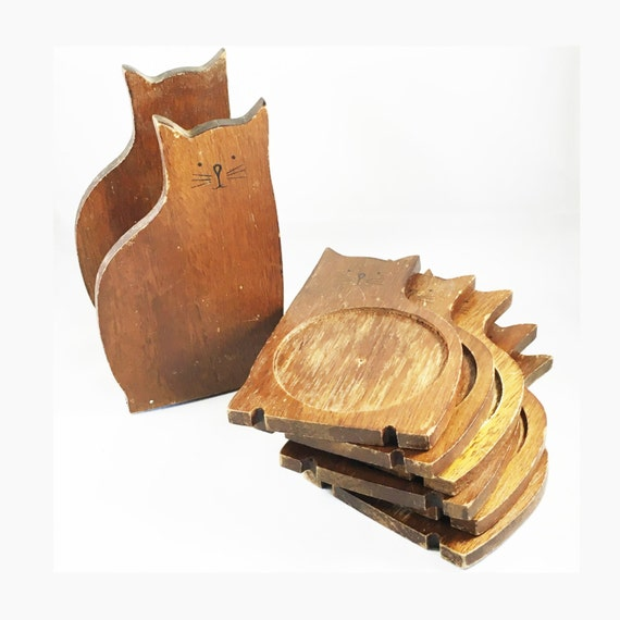 Vintage Cat Wooden Coasters Set Of 6 Cat Shaped Wooden Drinks