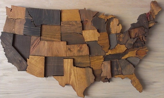 contiguous usa map wall art wooden state art by wallartwooden. Black Bedroom Furniture Sets. Home Design Ideas