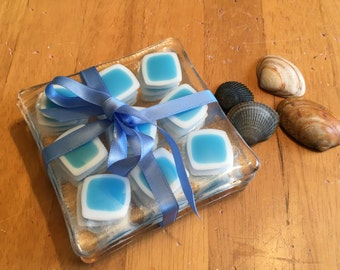 Set of 4 Handmade Fused Glass Coasters in a blue and white abstract design      C2