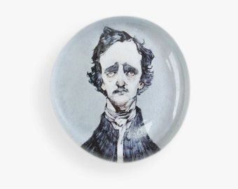 Edgar Allen Poe Glass Bubble Magnet