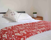On Sale king size red paisley handmade embroidered warm cotton blanket quilt bed cover coverlet bedding throw free shipping in the UK