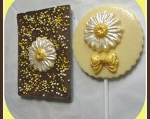 Daisy Chocolate Gift/Flower Chocolate/Wedding Favour/Flower Lover/Female Gift/Women's Chocolate/Ladies Gift/Chocolate Lollipop/Thank You