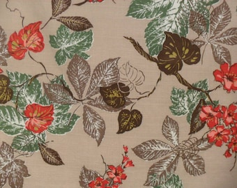 Vintage Floral Fabric Cotton Bark Cloth Leafy Material Leaves