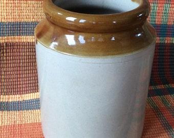 Antique brown band glaze crock condiment jar kitchen storage stoneware