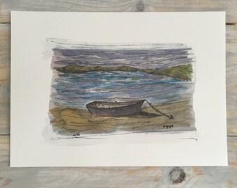 Boat on a Beach - Watercolour Print