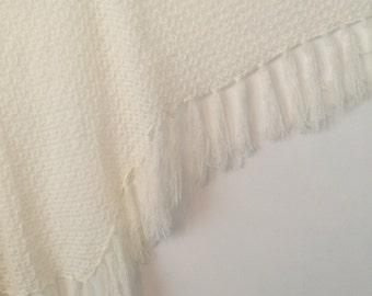 Winter white delicate soft shawl