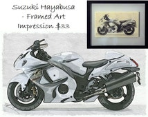 "Suzuki Hayabusa Motorcycle - Framed Art Impression 12"" x 15"""