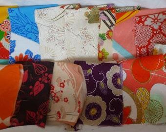 Assorted antique/ vintage Japanese Kimono fabrics 100g - Small no.13