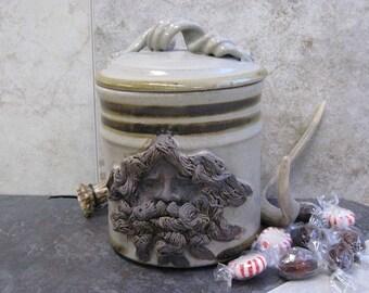 Face Canister, face jar,candy jar,canister,handmade canister, made in montana,ceramic jar,ceramic canister, lidded jar,