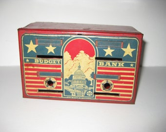 Vintage Toy Budget Bank 1950's