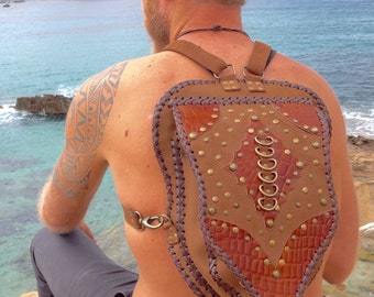 Handmade leather and suede brown backpack, burning man, Indian, hippy, rucksack