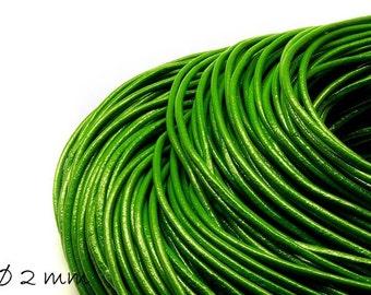 5 m leather strap green, Ø 2 mm