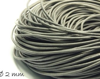 5 m grey leather band, Ø 2 mm