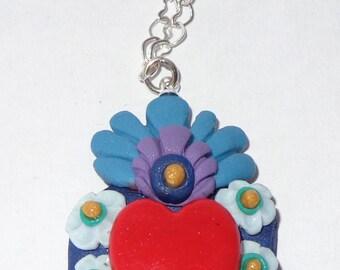 Mexican Heart Necklace Corazón De laton