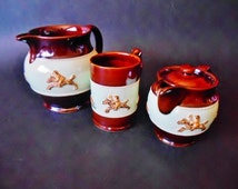Antique Bourne Denby Pottery Fox Hunting Theme - Set of 3 Bourne Denby Derby Mug, Teapot and Pitcher - Collectable Stoneware England 1940s
