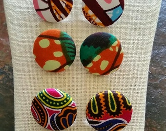 Setof 5 pair- AUTHENTIC ANKARA fabric button earrings- size 1 1/8 inch