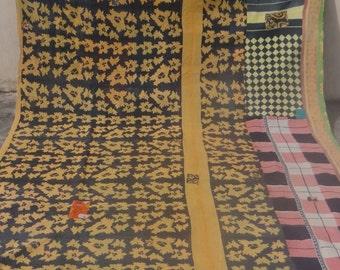 Beautiful Reversible Kantha Quilt  Kantha Handmade Throw Cotton Thread Stich Kantha Sari Quilt