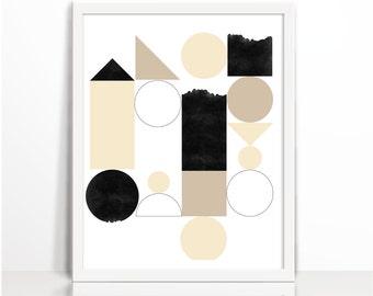 Modern Printable, Interior Prints, Abstract Geometric Print, Geometric Art, Abstract Art  Wall A, Abstract Print Printable Digital Download