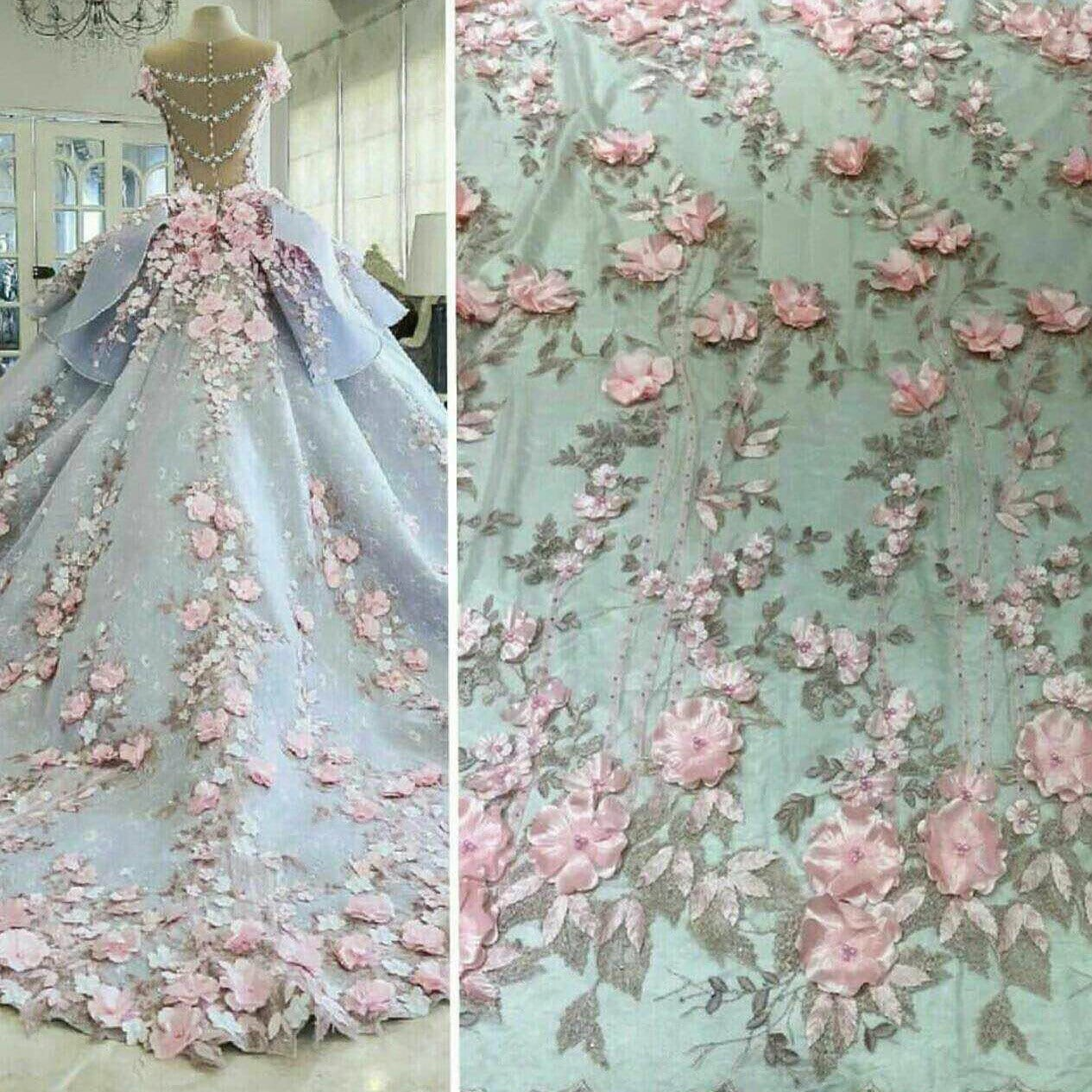 Latest lace fabric beaded bridal lace fabric elegant tulle 3d for Material for wedding dresses