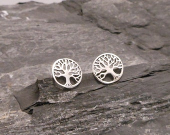 Tree of life ear studs, 925 Sterling Silver earrings