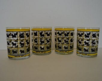Four Scottie Glass Cups