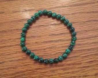 "Green Stripe Taiwan Turquoise Stretch Bracelet 7"""