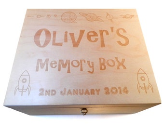 Personalised Wooden Engraved Box Keepsake Memory - Christening / New Baby Gift