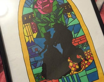 Hand drawn Beauty and the Beast - framed