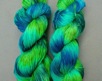 Cat Eye Sparkle- Hand dyed yarn, sock weight, Superwash Merino, Sparkle, 438 yards