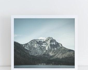 Mountain Wall Decor, Mountain Print, Mountain Photography, Winter Landscape, Nature Photography, Lake House Decor, Lake Print, Nature Print.