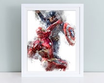 Captain America Civil War instant download, Civil war printable poster, Captain America vs Iron Man poster watercolor art, Marvel poster