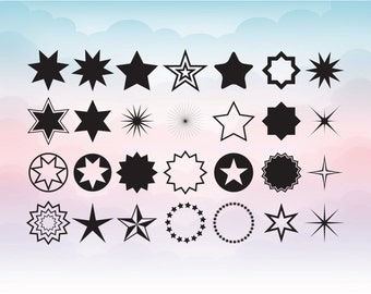 Star svg - star clipart collection - Stars SVG DXF files instant download - Stars Digital stencil template - Star Svg, eps, dxf, png, pdf