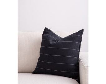 Black with Gray Pinstripe  Fully Washable Complete Pillow designed by Jo Alcorn