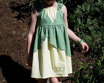 Princess Tiana Dress - Princess and the Frog Inspired Dress - Cotton Play Dress - Princess Tiana Disneybound - Girls Tiana Costume