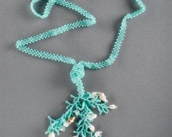 Turquoise beaded lariat