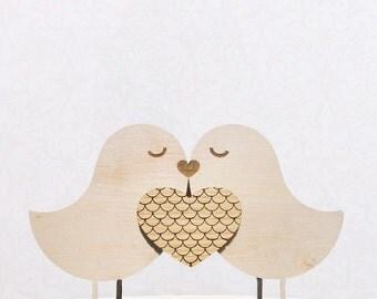 Wooden Love Birds