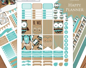 Brown blue OWL Planner Stickers Printable, HAPPY PLANNER Sticker, Monthly/Weekly Kit, Printable Sampler, Happy Planner kit, Instant Download