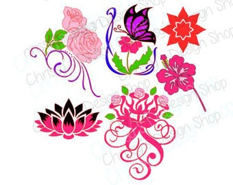 Flower SVG / Group of flowers svg / Roses SVG / butterfly svg / Mother's day svg / vinyl crafting / print and cut / flower eps / silhouette