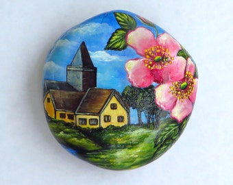 Spring Village Landscape,Hand Painted Stone