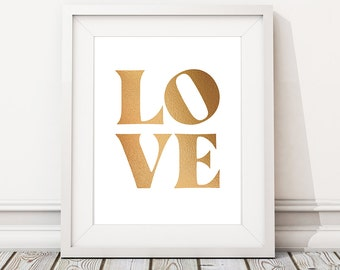 Gold printable, Large wall art, Gift for couple, 'LOVE' Print, DIGITAL DOWNLOAD