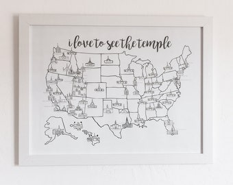 Lds Etsy - Lds temples in the us map